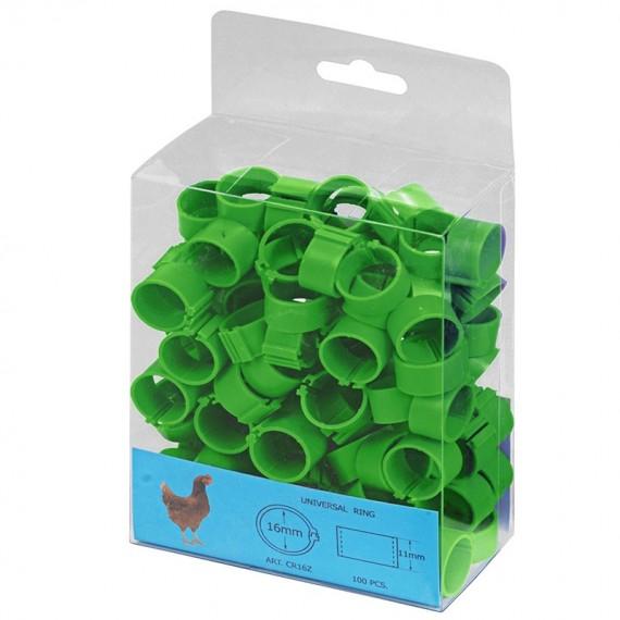 Anilla plástica 16mm Gallinas (100 und) Verde