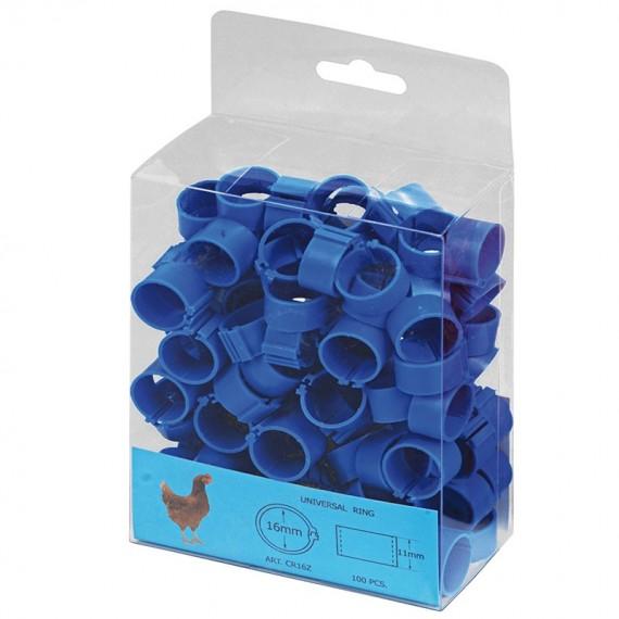 Anilla plástica 16mm Gallinas (100 und) Azul
