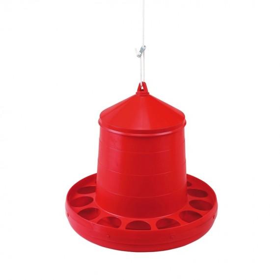 Tolva Plástico 12 Kilos Aves Rojo
